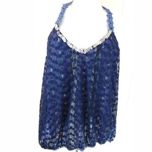 Free People Blue Floral Lace Sequin Trim Tank